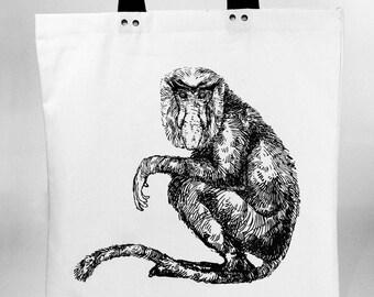 Proboscis monkey - hand screen printed cotton canvas tote bag