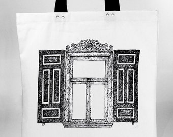 Window - hand screen printed cotton canvas tote bag