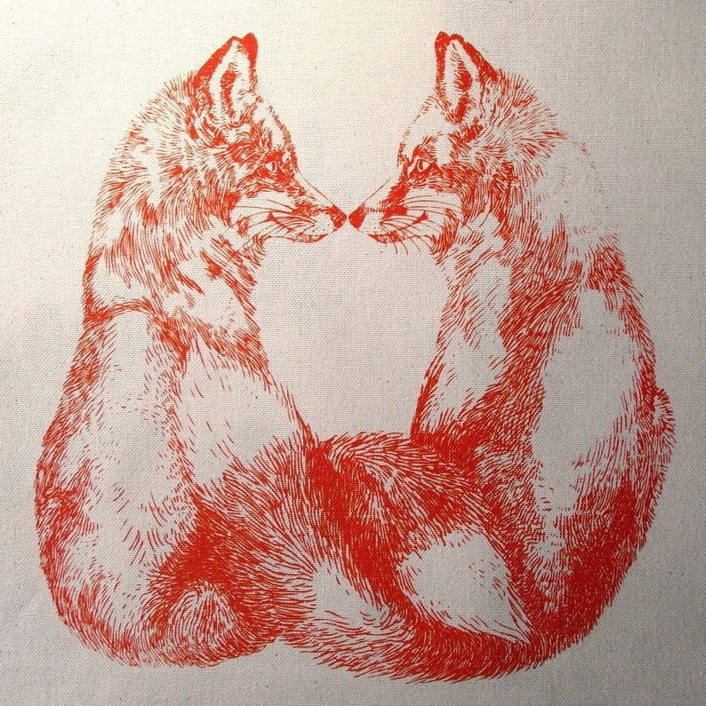 hand printed cotton tote bag Foxes
