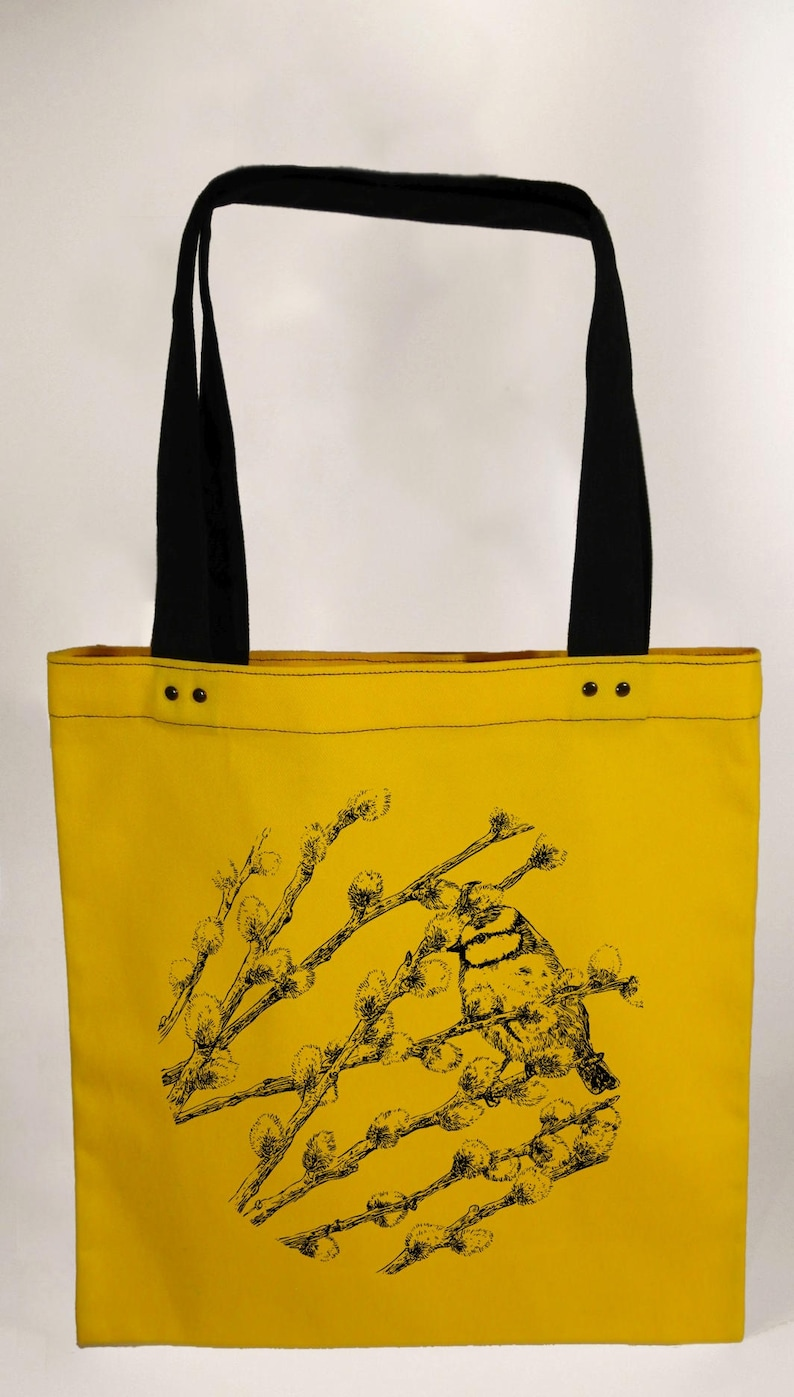 yellow hand screen printed cotton canvas tote bag Pussy willow