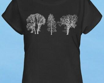 Trees - hand screen printed discharge black womens t-shirt