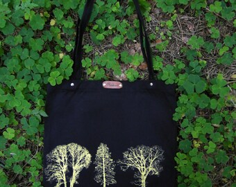 Trees - hand screen printed discharge cotton canvas tote bag