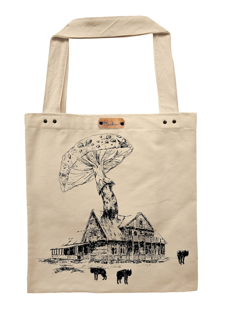hand printed cotton tote bag Old school