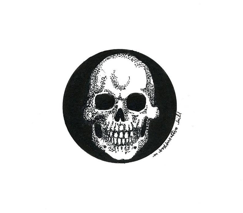 Skull  Original Pen and Ink Drawing  Free Shipping image 0