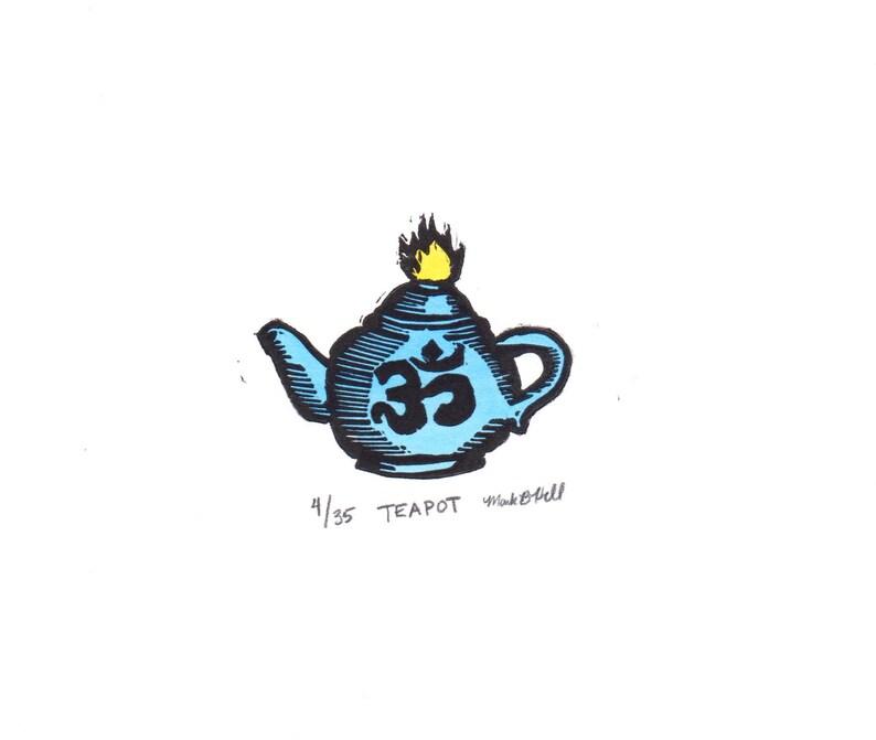 Tea Pot  Original Linocut Print image 0