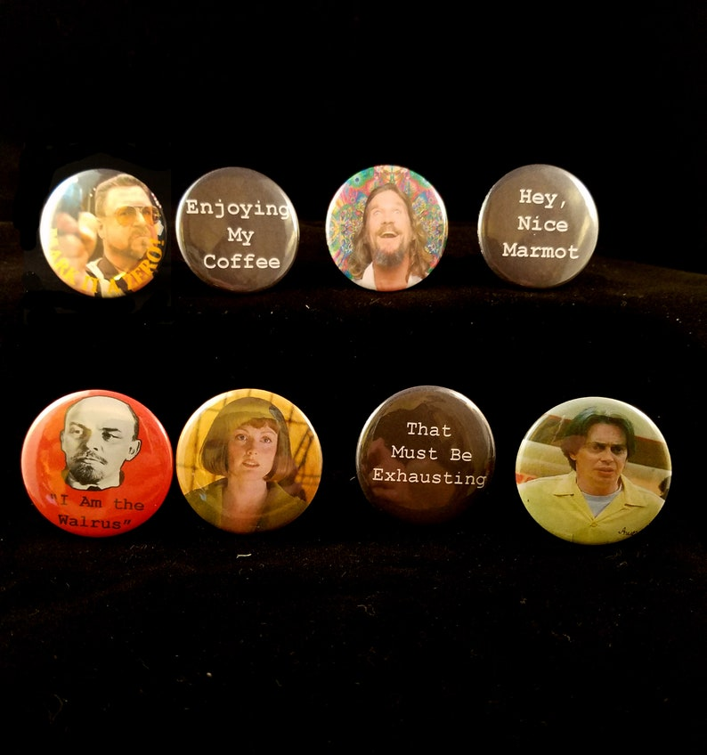 The Big Lebowski  Set of Eight Pinback Buttons  Free image 0