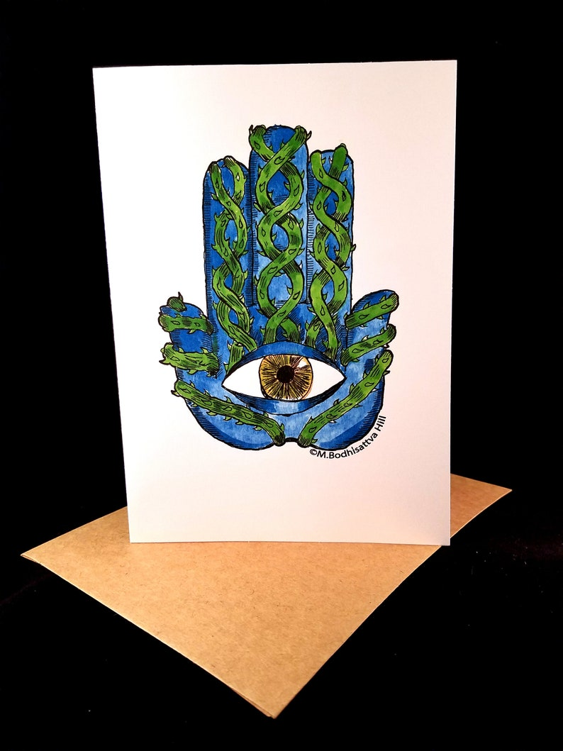 Thorny Hamsa  Pack or Five Greeting Cards  Free Shipping image 0