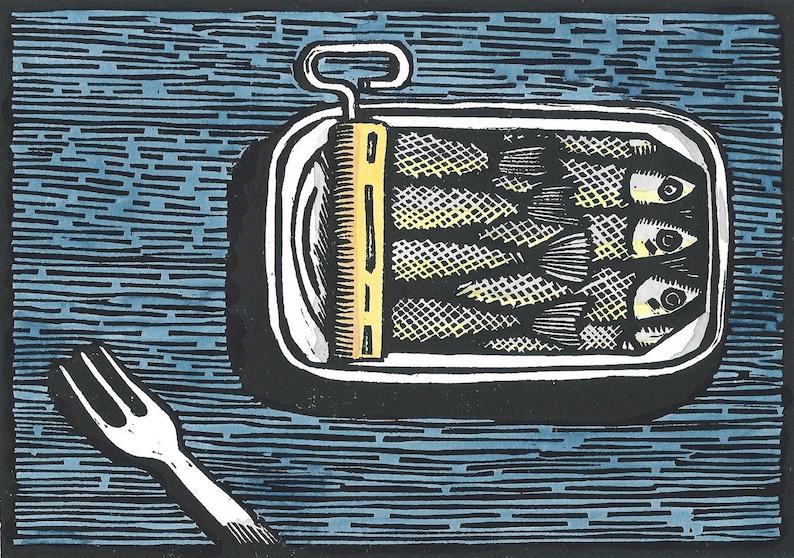 Sardines-Original Linocut Print image 0