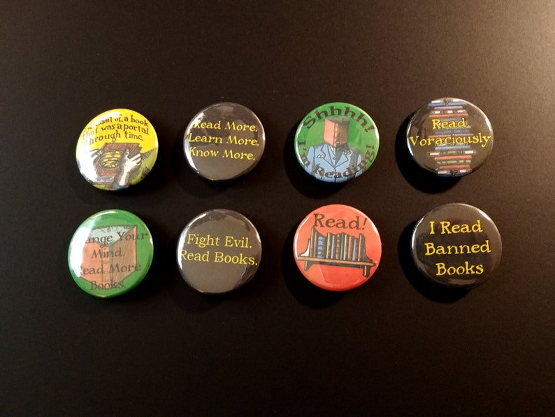 Bibliophiles  Pinback Buttons Set of Eight  Free Shipping image 0