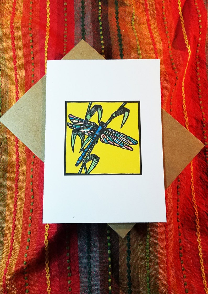 Dragonfly  Pack of Five 5 x 7 Blank Greeting Cards  Free image 0
