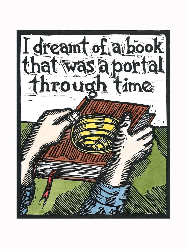 I Dreamt of a Book  Original Linocut Print image 0