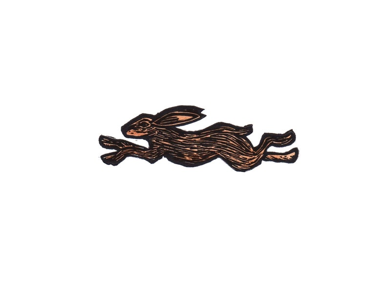Running Hare Original Linoleum Blockprint image 0
