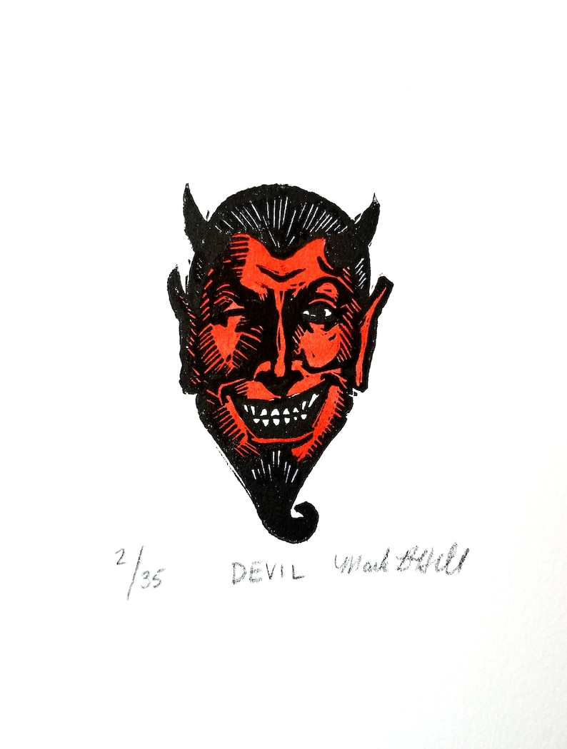 Devil  Original Linocut Print image 0