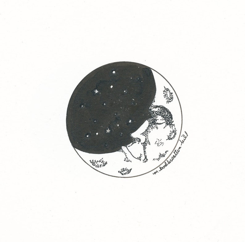 Waning Moon  Original Pen and Ink Drawing  Free Shipping image 0