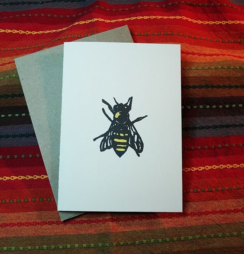 Honey Bee  5 x 7 Greeting Card  Pack of 5 Free Shipping image 0