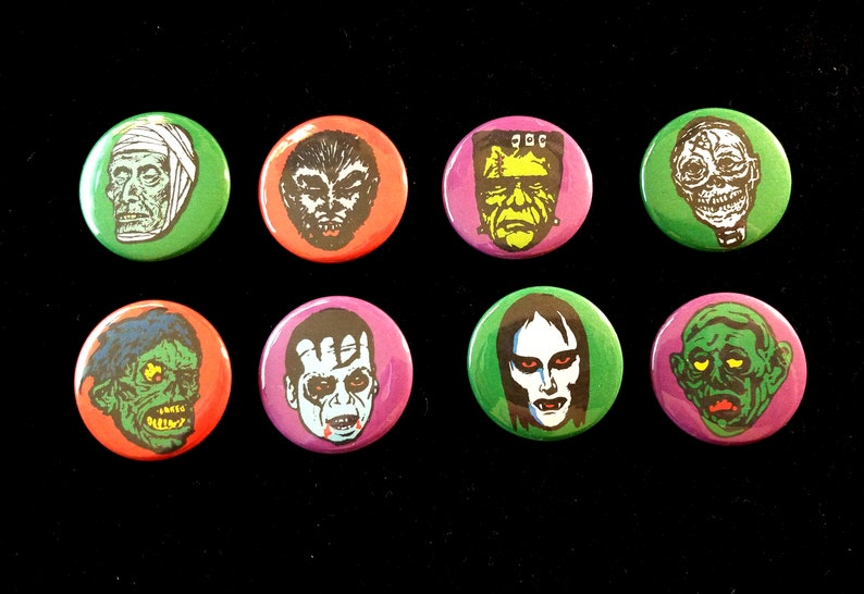 Monsters  Set of 8 Pinback Buttons  Free Shipping image 0