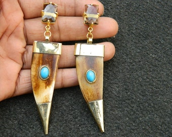 Horn earring Natural Horn  With Turquoise and Smoky Quartz earring Tibetan Tusk Tooth earring Gemstone earring Brass earring horn jewelry