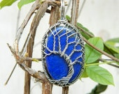 92.5 Sterling Silver Wire Wrapped Tree of life Pendant Natural Lapis Lazuli Gemstone Filigree Art Wire Wrap Pendant Unique Designer Gift