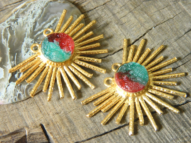 Drusy Sun rise Pendant   Multi color  Gemstone Pendant  Gold Electroplated  Natural  Druzy Charm  Boho Jewelry  Beautiful gift
