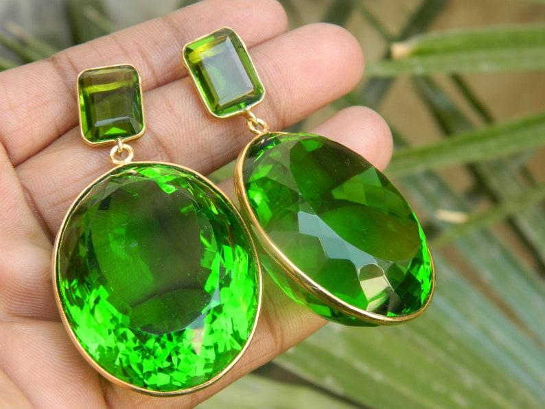 Ear weights earring Green and Orange Quartz earring Man Made Quartz Gemstone Gold plated Earring Gift Idea Beautiful earring Gift For Women