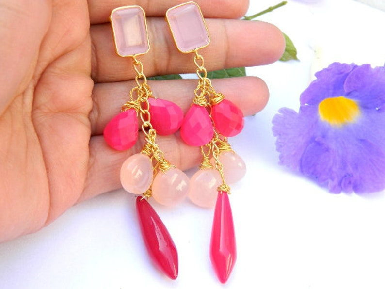 Chalcedony earring Red pink Black and Lavender chalcedony earring Gold plated earring long earring Gemstone jewelry gift for her