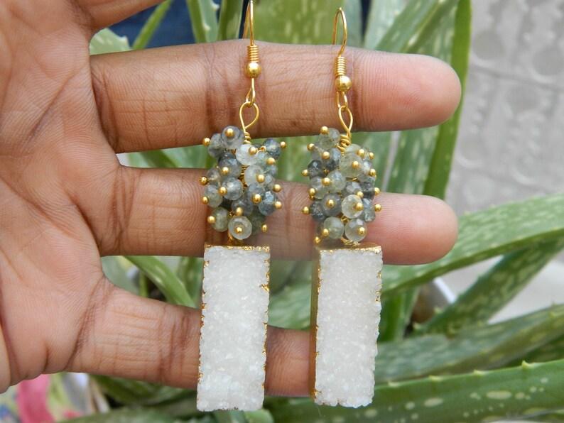 Druzy Earrings Gold electroplated druzy With Moss Aqua Cluster earring Natural bead Beautiful Boho Jewelry Charm Earrings Gift Idea