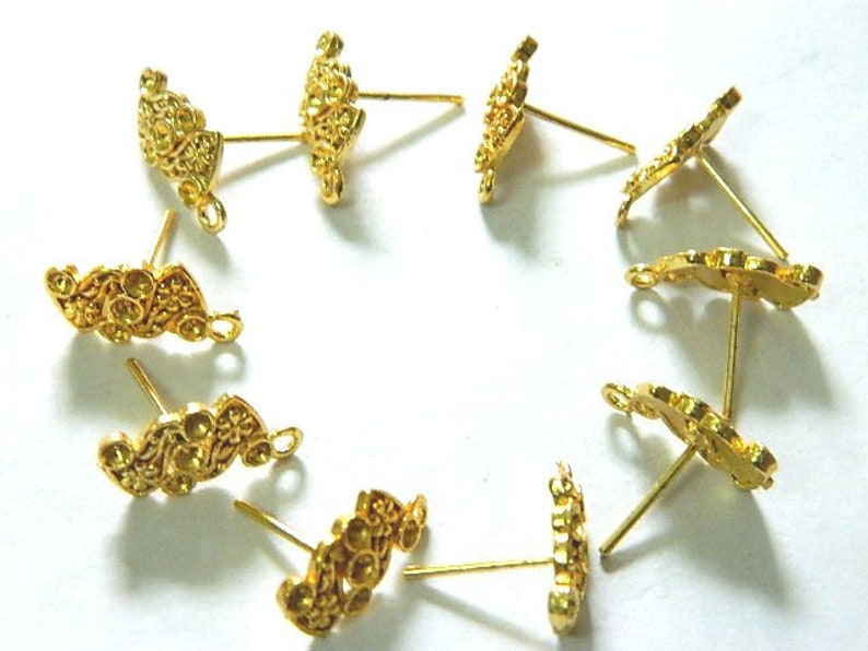 Beading Findings Brass Stud Connector Pairs Gold plated Earring Post with 1 loop Jewelry Supplies