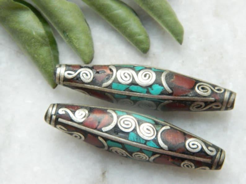 Nepali Jewelry beads 2 Pcs Nepali Traditional Brass Beads Turquoise Coral Inlay Bead  Fancy Shape beads   Charm bead Making jewelry