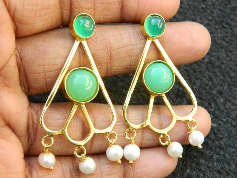 Stud earring Turquoise Charysoprse Natural White rainbow and pearl stud earring Gold plated earring Gemstone Earring Designer Gift for Women