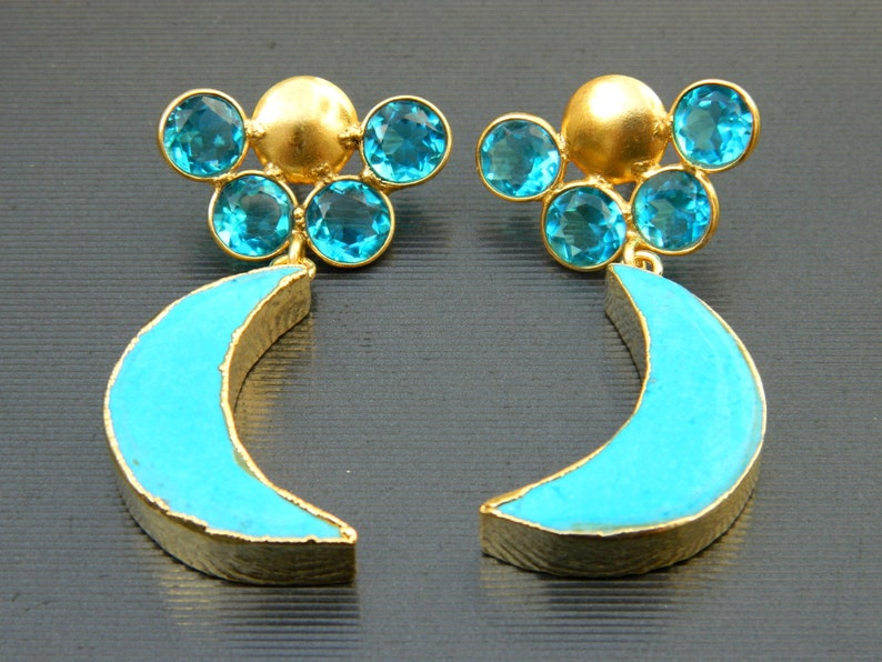 Howlite Earring  Gold Plated Turquoise With  Quartz Stud  Gemstone Earring  Jewelry  gift for her