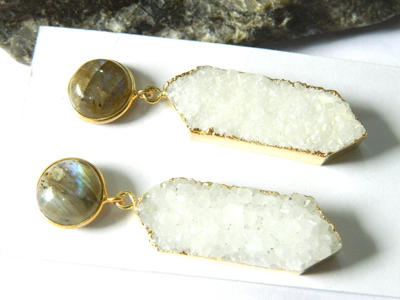 Druzy and labradorite earring  Gold edged druzy With labradorite stud earring  Boho Jewelry  Charm earring  Beautiful Gift  for her