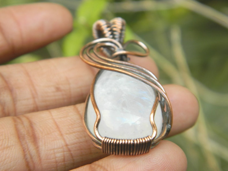 Beautiful White Rainbow Wire wrapped pendant   White Rainbow necklace  Copper jewelry  Unique  Gemstone jewelry  boho jewelry  Gift for her
