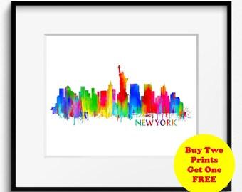 New York City Skyline Watercolor Art Print (039)