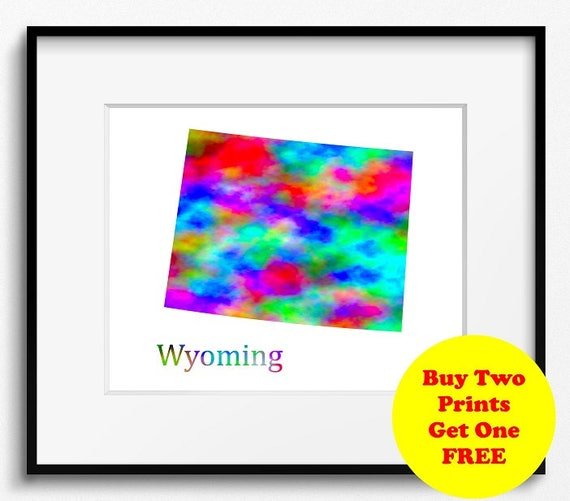 Wyoming State Map Watercolor Art Print 110 | Etsy