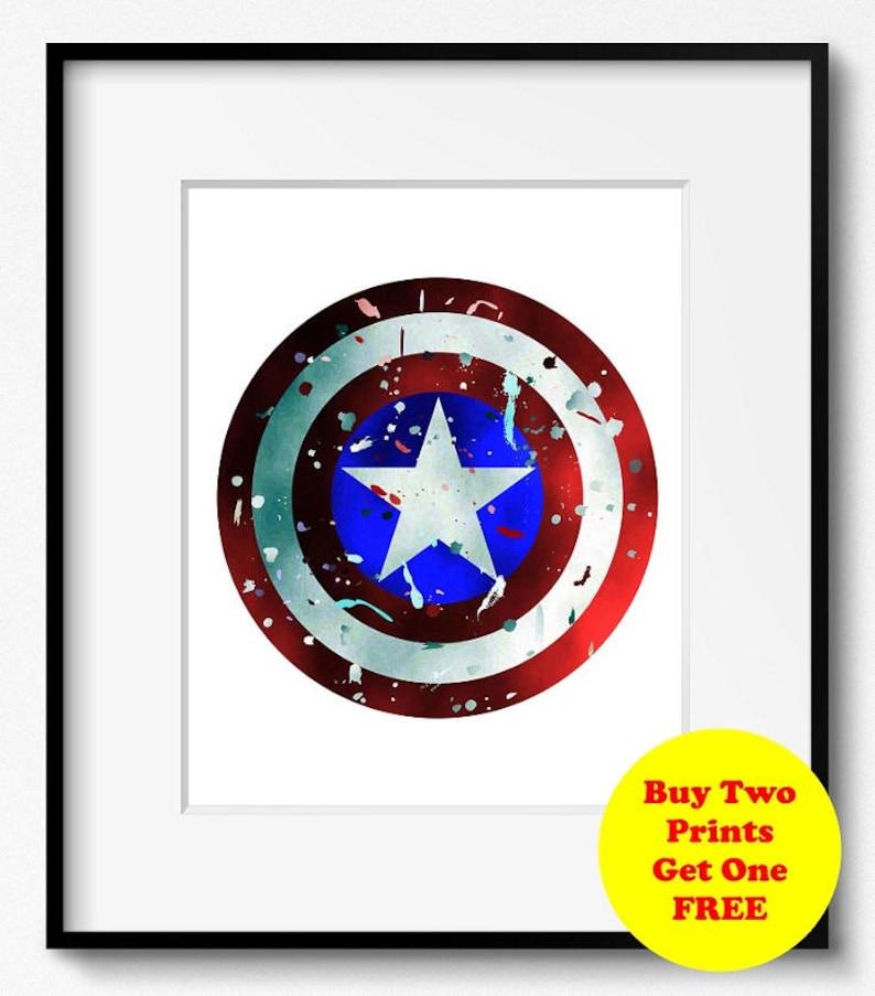 Captain America's Shield Watercolor Art Print (S004) Disney, Marvel, Steve  Rogers, Abstract, Poster, Wall Art, Kids Home Decor, Nursery,