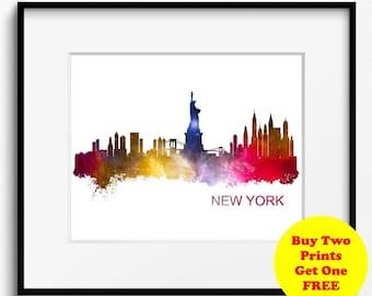 New York City Skyline Watercolor Stars Art Print (513) Cityscape USA