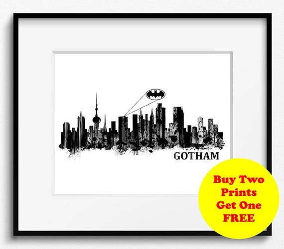 Gotham City Skyline Watercolor Black and White Art Print (S029) Cityscape,  Batman, Bruce Wayne, Joker, Arkham Asylum, Wayne Enterprises