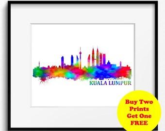 Kuala Lumpur Skyline, Watercolor Art Print (240) Kuala Lumpur Cityscape, Malaysia Art Print, Garden City Of Lights, Kuala Lumpur Art Print