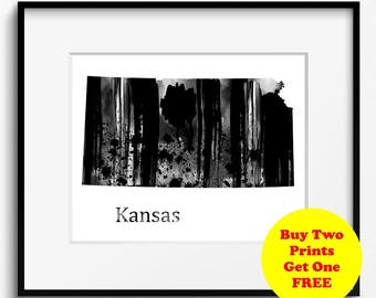 Kansas State Map Watercolor Art Print Black and White (793) Sunflower State, Wheat State, Free State, United States