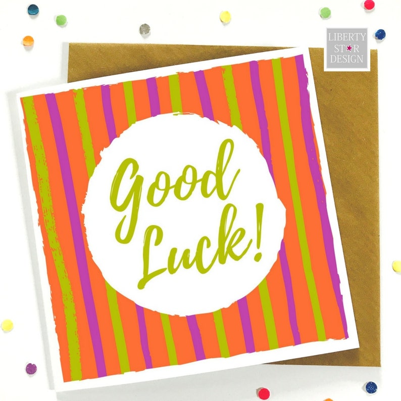 Good Luck Bold Greeting Card Good Luck Best Wishes New Job Etsy