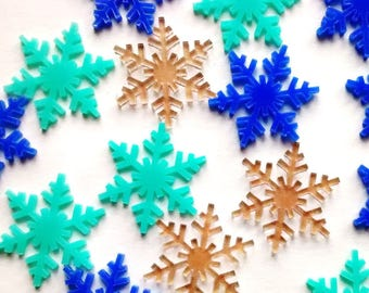 5 pieces - frozen snowflake cabochons - 25mm - kawaii decoden kit - craft supplies - winter - snow - snowflake - scrapbooking