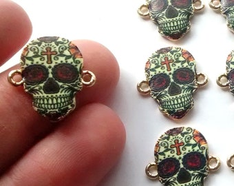 3/5/10 pcs Skull charm connector, day of the dead skull, pendant, jewellery making, craft supplies, cross skulls, gothic, trend,