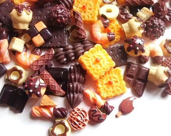 10/20/50/100pcs Chocolate candy - biscuit - cakes - decoden cabochon set - pin badge - phone case - keyrings - magnets  - decoden crafts