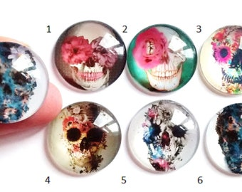 1pc/6pcs glass round dome cabochon, Day of the dead, sugar skull, skull, pretty skull, flowers, 25mm kawaii cabochon round 1 inch