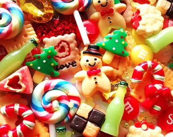 10/20/50pcs Large fake candy christmas cabochons - quality deco cabochon set - craft supplies - magnets  - decoden craft - jewellery making
