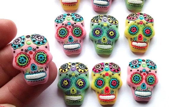6 GLASS Sugar Skull Dome  coloured Cabochons 25mm Day of the Dead 20/% MULTI-BUY