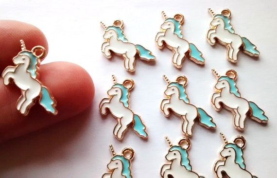 10pcs Mini Unicorn Horse Charms Pendants for Necklace Jewellery Making Supplies