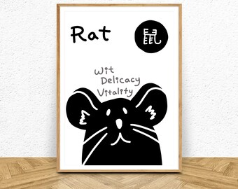 Chinese Horoscope Sign 1 Rat Mouse Printable Art Home Decor Poster Print Animal Prints Greeting Card Birthday Cards Zodiac