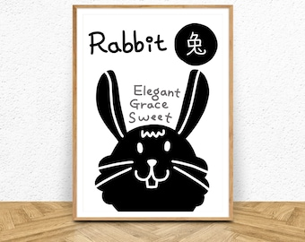 Chinese Horoscope Sign 4 Rabbit Printable Art Home Decor Poster Print Animal Prints Greeting Card Birthday CardsChinese Zodiacbunny