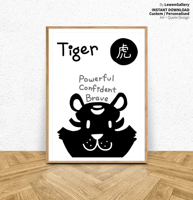 Chinese Horoscope Sign 3 Tiger Printable Art Home Decor